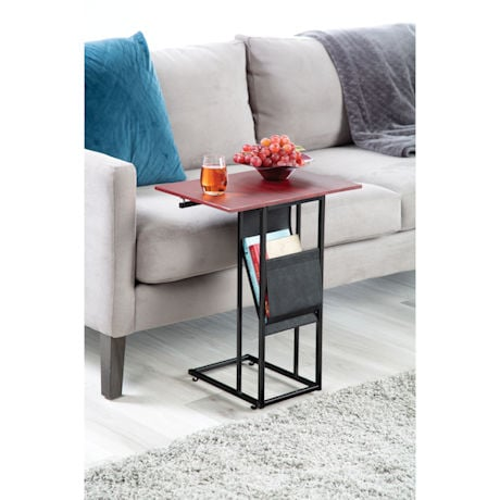 Side Table with Expanding Table Top & Sling Pocket