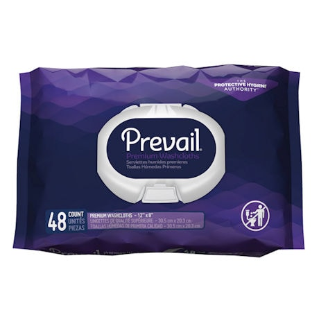 Prevail® Premium Quilted Disposable No Water Incontinence Washcloths
