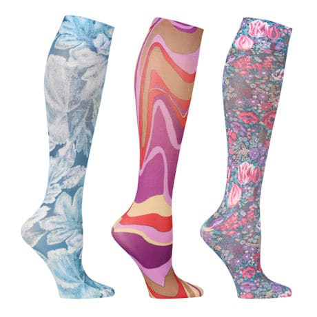 Women's Limited Edition Printed Regular Calf Mild Compression Knee High Stockings - 3 Pack
