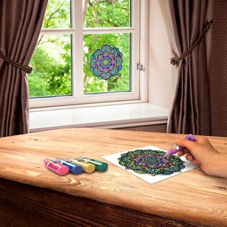 Stained Glass Mandala Window Art Clings - Set of 8