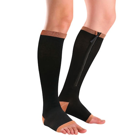 Unisex Copper Moderate Compression Zipper Knee High Open Toe Socks