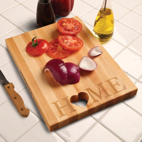 "Words with Boards Maple Hardwood Cutting Board - ""Home"" with Hand-Cut Heart Accent - Premium USA-Made Butcher Block"
