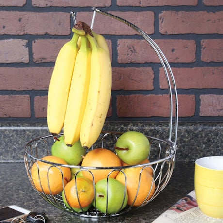 Culinaire Wire Fruit Basket with Banana Hanger - Countertop Food Storage Bowl with Hook