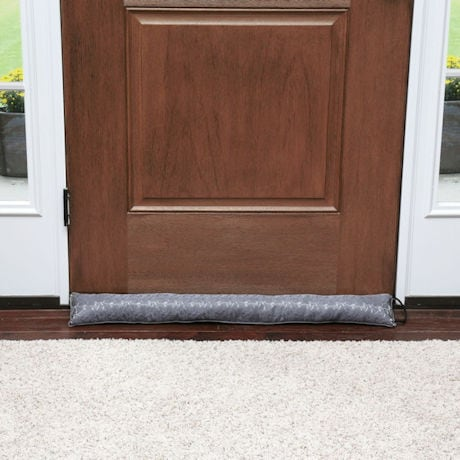 "Home District Jacquard Draft Dodger with Handle - Weighted Door and Window Breeze Guard - 36"" Long"