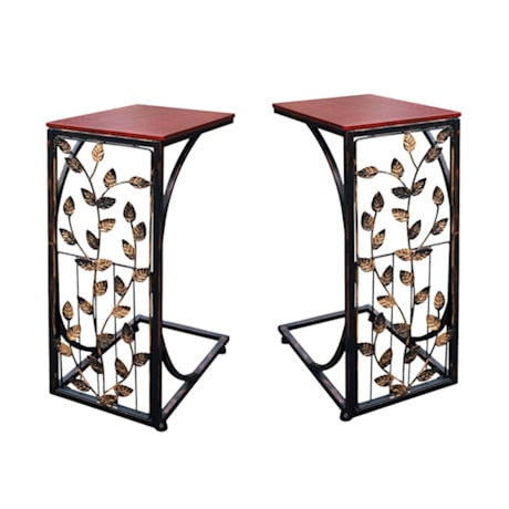 Set of 2 Sofa Side End Tables - Dark Brown Wood Top With Leaf Design Metal Frame - C-Shaped TV Trays For Couch, Recliner