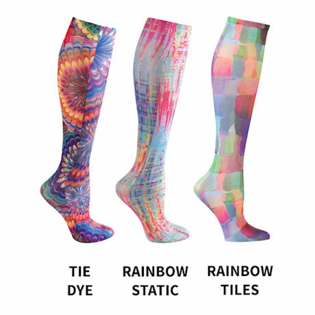 Celeste Stein® Women's Printed Closed Toe Mild Compression Knee High Stockings - 3 pack