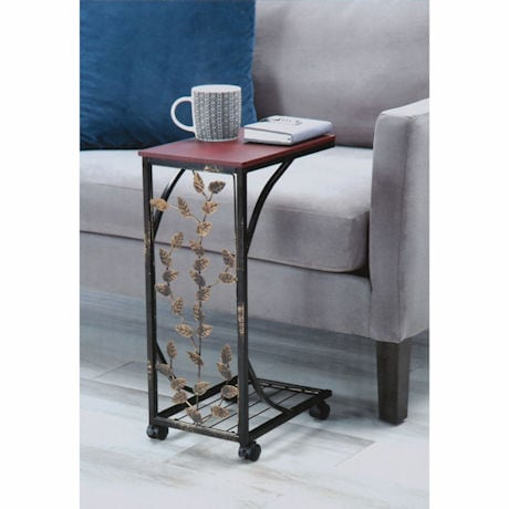Leaf Design Side Table with Wheels
