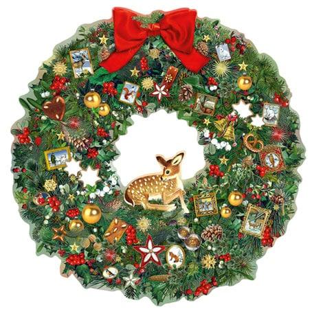 Festive Wildlife Wreath Advent Calendar Oversized Card