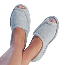 Women's Rubber Sole Terry Cloth Comfort Slippers - Gray