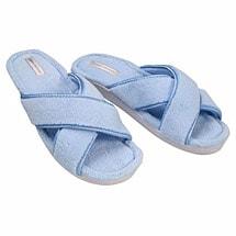 Tender Tootsies Sharon Crossover Slide Slipper Blue