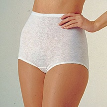 Elastic Leg Cotton Briefs 6 pack White