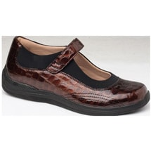 Drew®Rose Brown Croc Patent Mary Jane