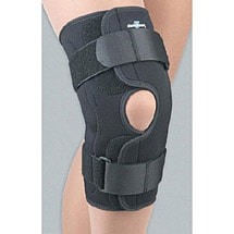 Wraparound Hinged Knee Brace in Stay-Put Adjustable Neoprene with Side Stays