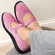 Foamtreads® Mary Jane Slippers Quilted Upper & Velcro Close with Non Slip Rubber Sole for Indoor and Outdoor Use