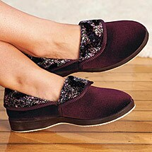 Foamtreads® Collared Velour Slippers