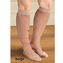 Support Plus® Sheer Firm Compression Wide Calf Knee High Stockings