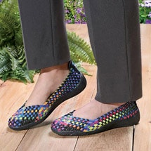 Woven Stretch Slip-on Shoes with Memory Foam Insoles