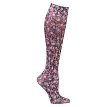 Printed Moderate Compression Knee Highs  - Black/Pink Tiny Flowers