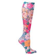 Printed Mild Compression Knee Highs Wide Calf  - Floral Tapestry