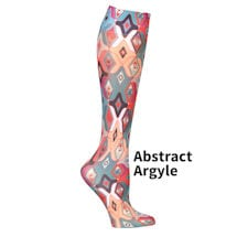 Printed Mild Compression Knee Highs  - Abstract Argyle