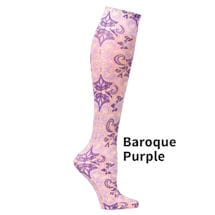 Printed Mild Compression Knee Highs Wide Calf  - Baroque Purple