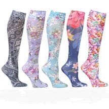 Celeste Stein® Womens Printed Closed Toe Wide Calf Mild Compression Knee High Stockings