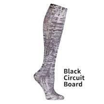 Printed Moderate Compression Knee Highs - Black Circuit Board