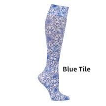 Printed Mild Compression Knee Highs Wide Calf - Blue Tile