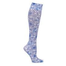 Printed Mild Compression Knee Highs  - Blue Tile