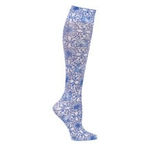Printed Moderate Compression Knee Highs - Blue Tile
