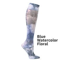 Printed Mild Compression Knee Highs Wide Calf - Blue Watercolor Flowers