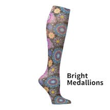 Printed Mild Compression Knee Highs Wide Calf - Bright Medallions
