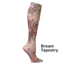 Printed Mild Compression Knee Highs  - Brown Tapestry