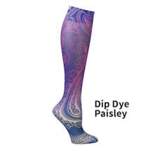 Printed Mild Compression Knee Highs  - Dip Die Paisley