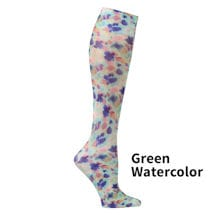 Printed Mild Compression Knee Highs  - Green Watercolor