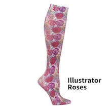 Printed Moderate Compression Knee Highs - Purple Roses