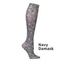 Printed Moderate Compression Knee Highs - Navy Damask