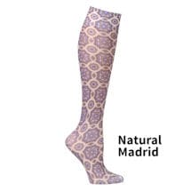 Printed Mild Compression Knee Highs  Wide Calf- Natural Madrid