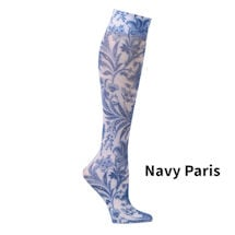Printed Mild Compression Knee Highs  - Navy Paris