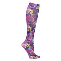 Printed Mild Compression Knee Highs Wide Calf - Navy Daisy