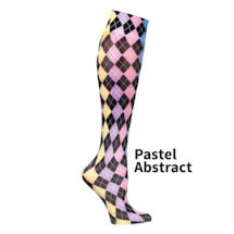 Printed Mild Compression Knee Highs Wide Calf  - Pastel Abstract