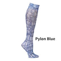 Printed Mild Compression Knee Highs Wide Calf - Pylon Blue