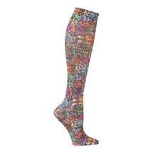 Printed Moderate Compression Knee Highs - Rainbow Pixels