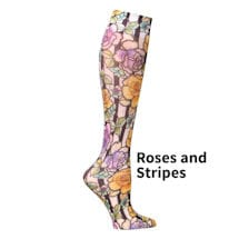 Printed Mild Compression Knee Highs Wide Calf  - Roses and Stripes