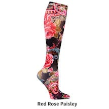 Printed Moderate Compression Knee Highs - Red Rose Paisley