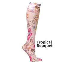 Printed Mild Compression Knee Highs  - Tropical Bouquet