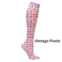 Printed Mild Compression Knee Highs Wide Calf  - Vintage Pixels