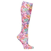 Printed Mild Compression Knee Highs Wide Calf - Artistic Butterflies