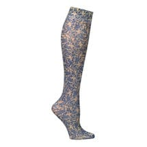 Printed Mild Compression Knee Highs Wide Calf - Nude Damask