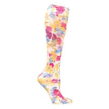 Printed Mild Compression Knee Highs Wide Calf - Painted Flowers